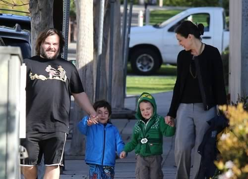 Jack Black and Tanya Haden with kids